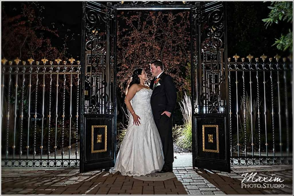 Manor House Ohio wedding gate bride groom