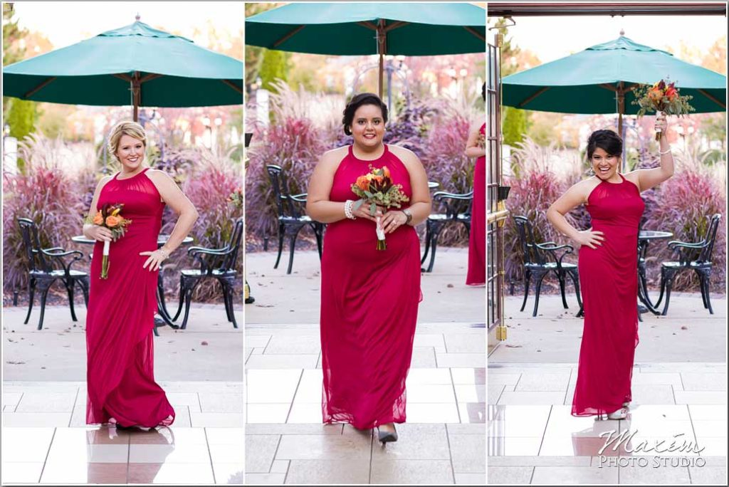 Cincinnati Wedding Photographer, Cincinnati Wedding Ceremony, Red bridesmaids dress, Manor House Atrium