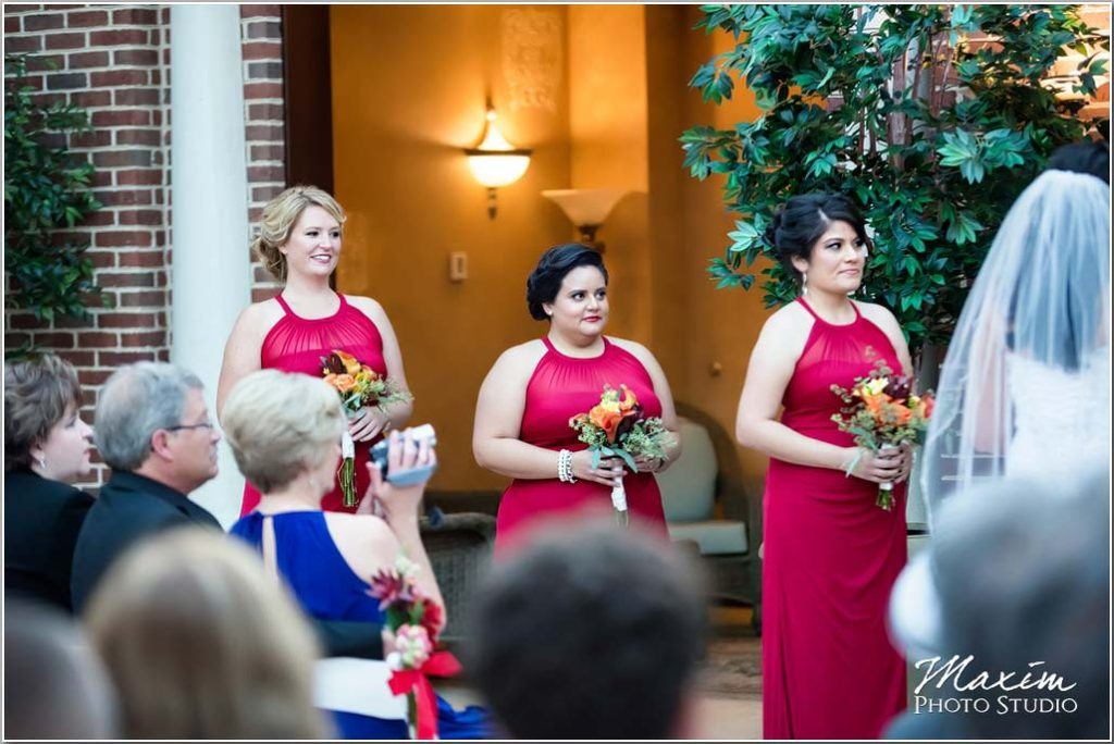 Cincinnati Wedding Photography, Bridesmaids, Red Wedding dress, Manor House Atrium