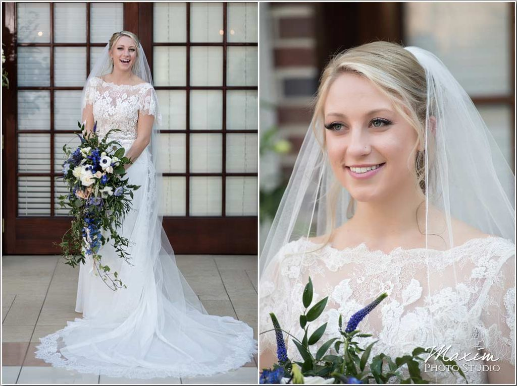 Manor House Ohio, Atrium wedding bride, flowers
