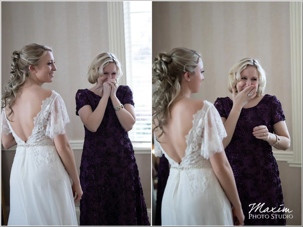Manor House bride preparations, mom crying