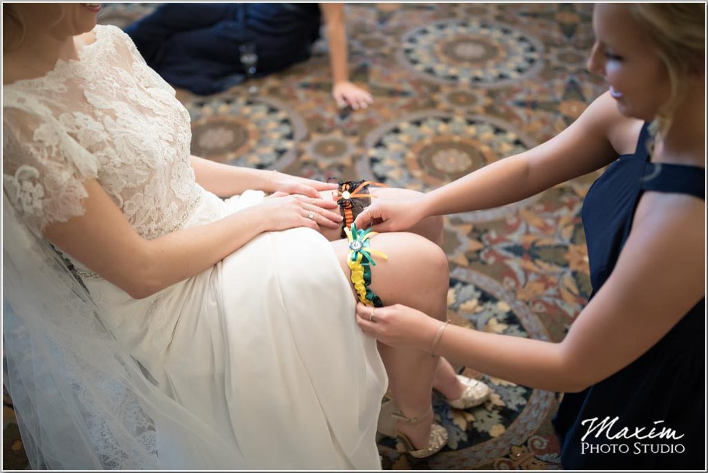 Manor House Ohio, Wedding photographers in Ohio, Bengals wedding garter, green bay wedding garter