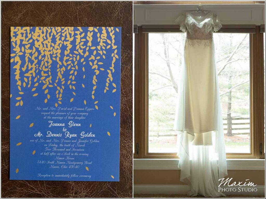 Manor House Ohio Wedding dress, Wedding Invitation