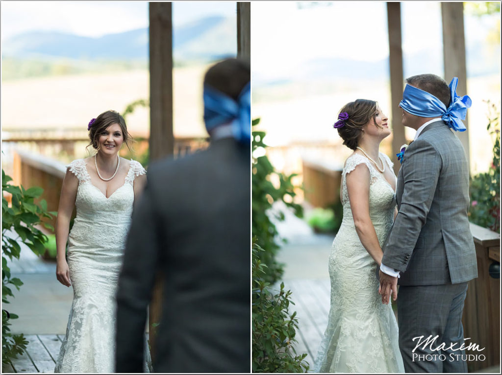 White Oaks Georgia destination wedding groom blindfold