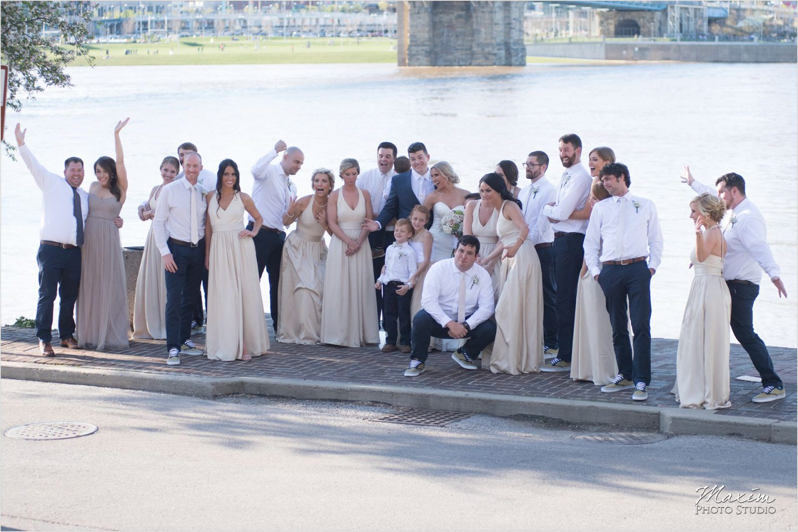 The Phoenix Cincinnati skyline Wedding Bride Groom
