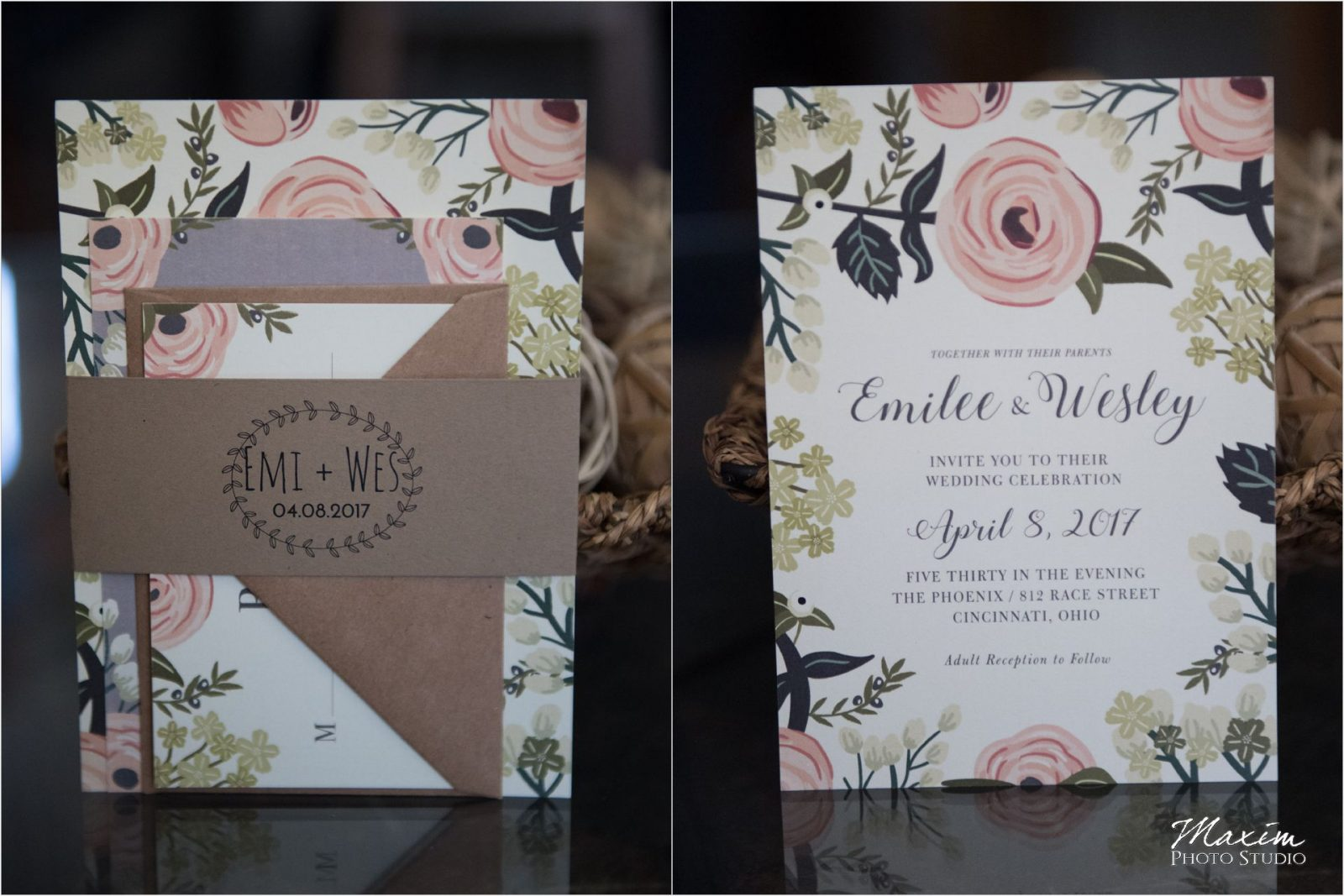 Phoenix Cincinnati Wedding day Invitations