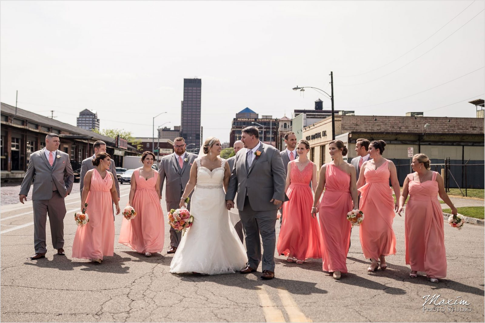 Top of the Market Dayton Ohio Wedding Downtown bridal party