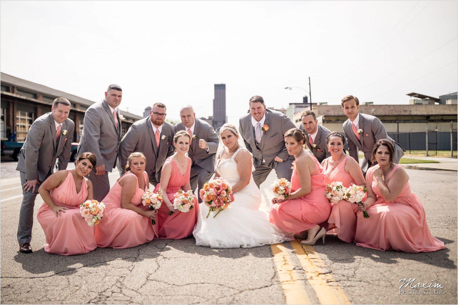Top of the Market Dayton Ohio Wedding Downtown bridal party