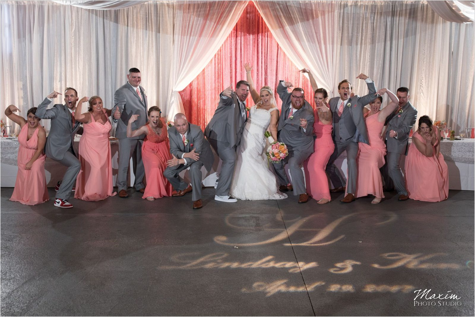 Top of the Market Dayton Ohio Wedding Reception bridal party