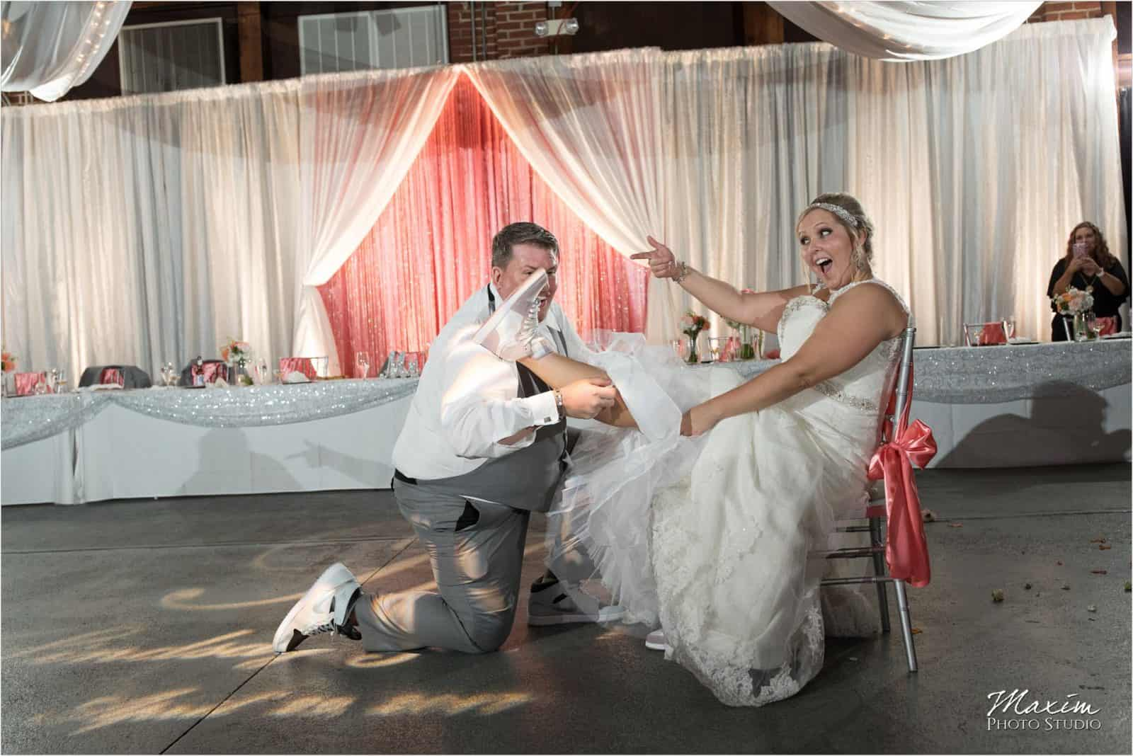 Top of the Market Dayton Ohio Wedding Reception garter