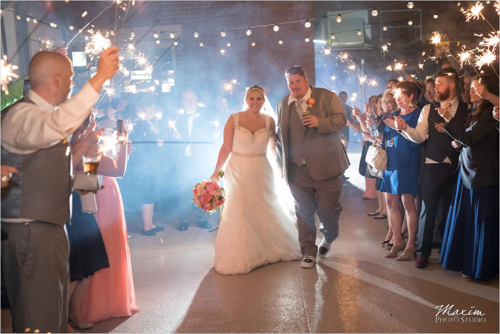 Top of the Market Dayton Ohio Wedding Reception sparkler exit