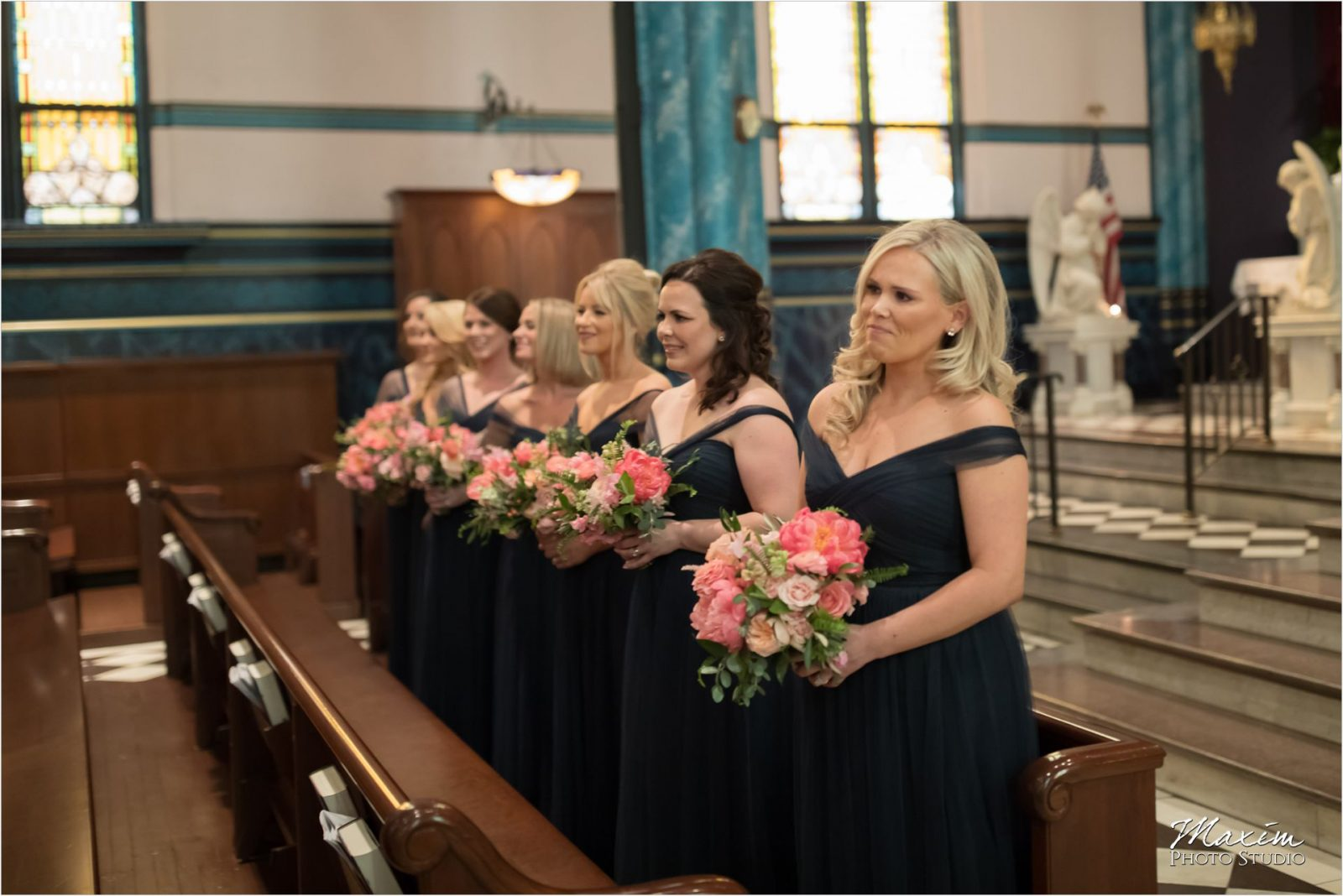 St Xavier Church Cincinnati Wedding ceremony pictures bridesmaids