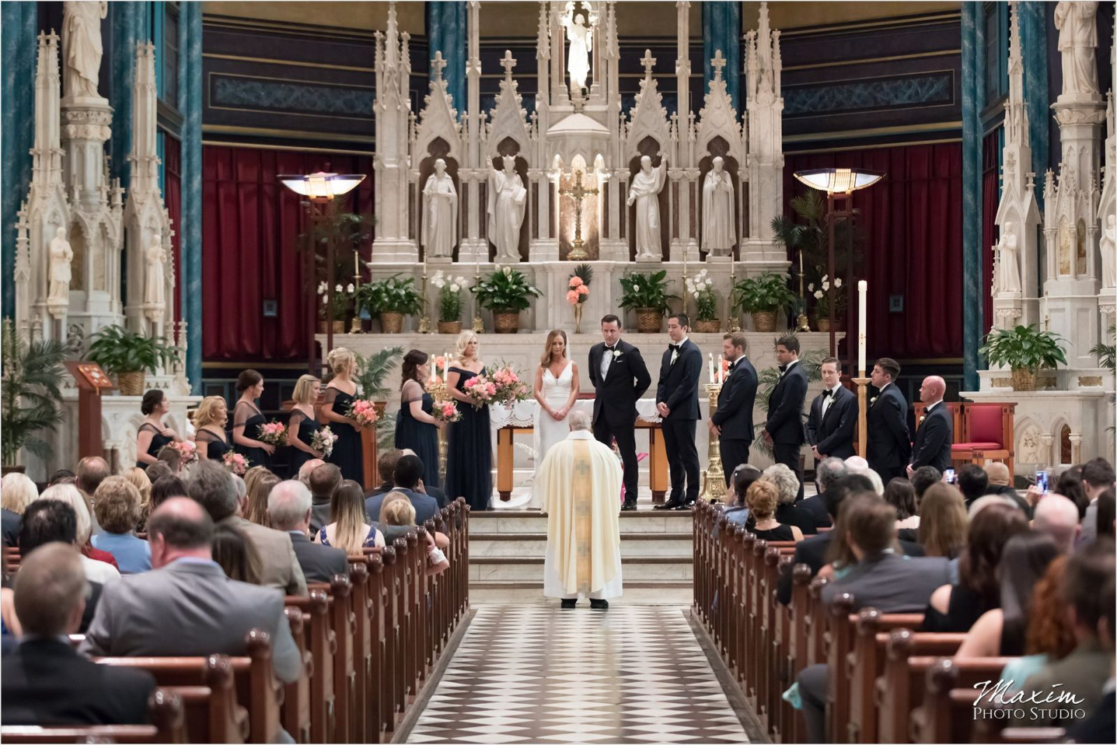 St Xavier Church Cincinnati Wedding ceremony pictures bride
