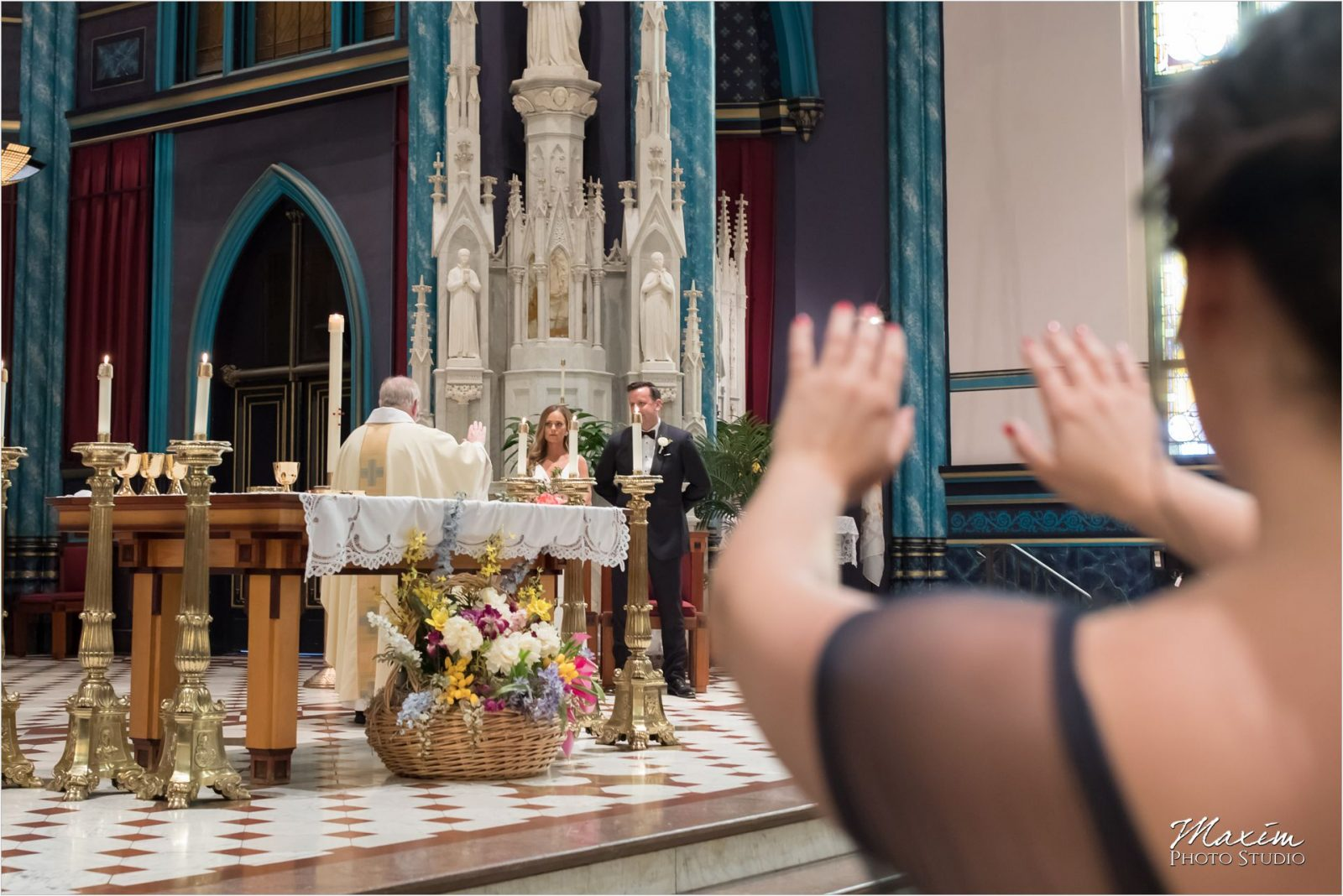 St Xavier Church Cincinnati Wedding ceremony pictures