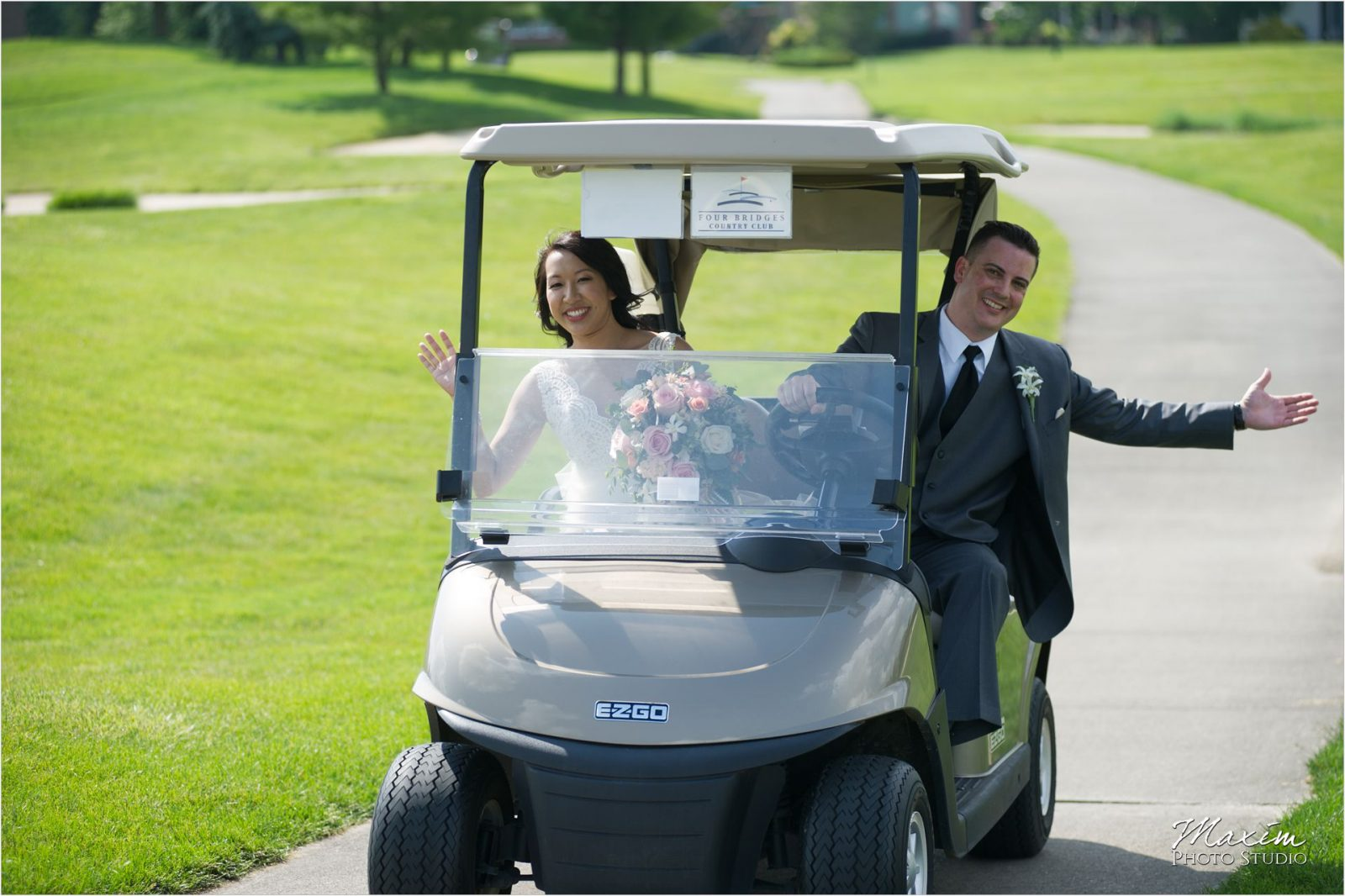 Four Bridges Country Club Wedding Bride Groom Gold Cart