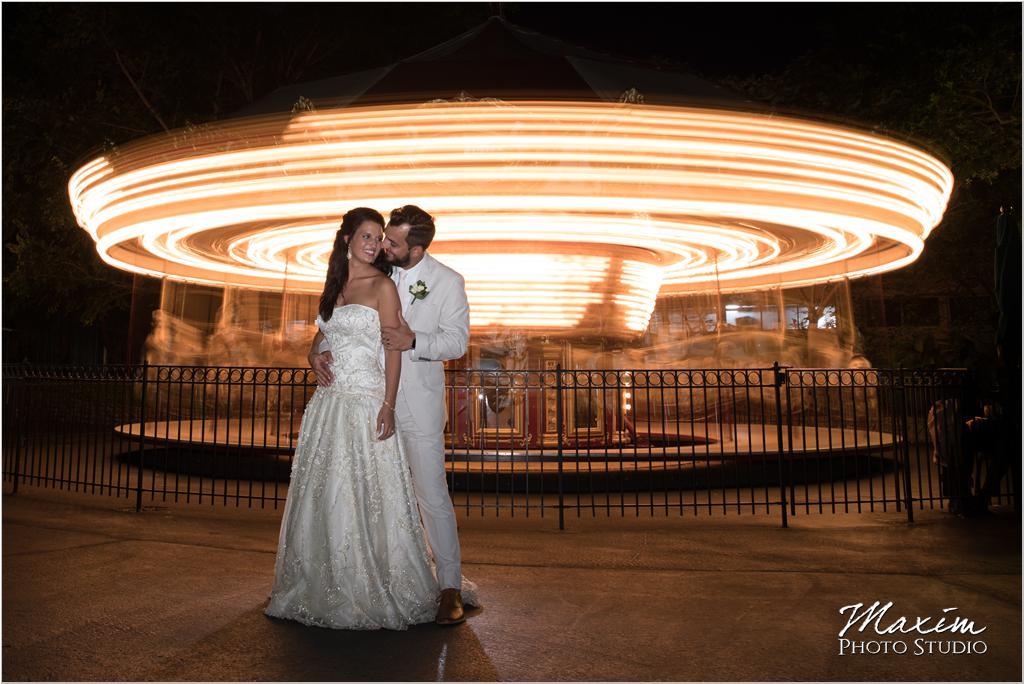 Moonlight Gardens Coney Island Wedding Portraits Carousel
