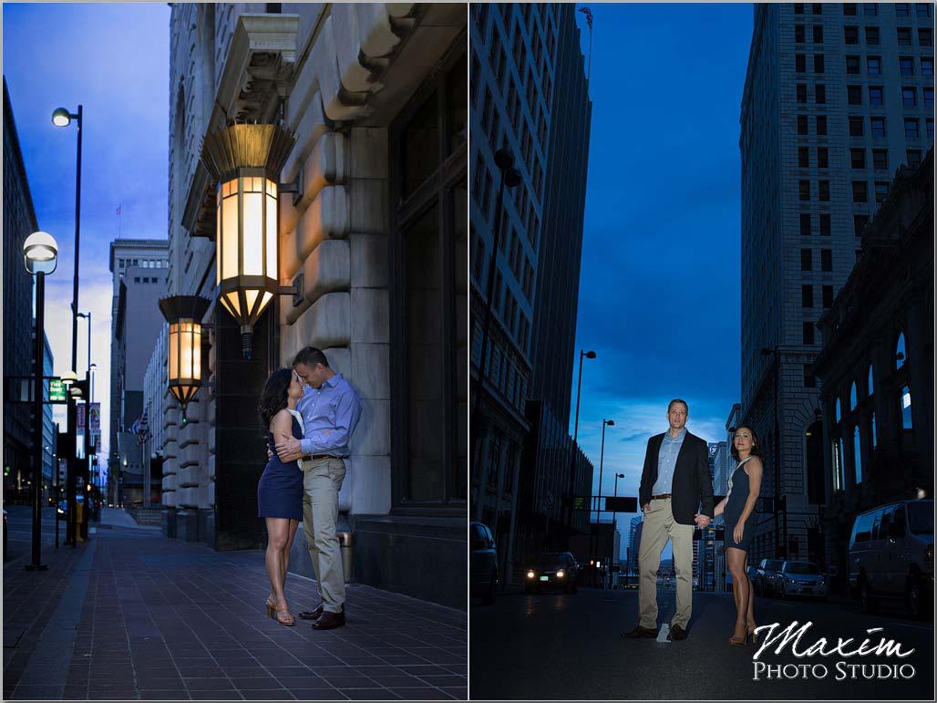 Night engagement Cincinnati Sunset