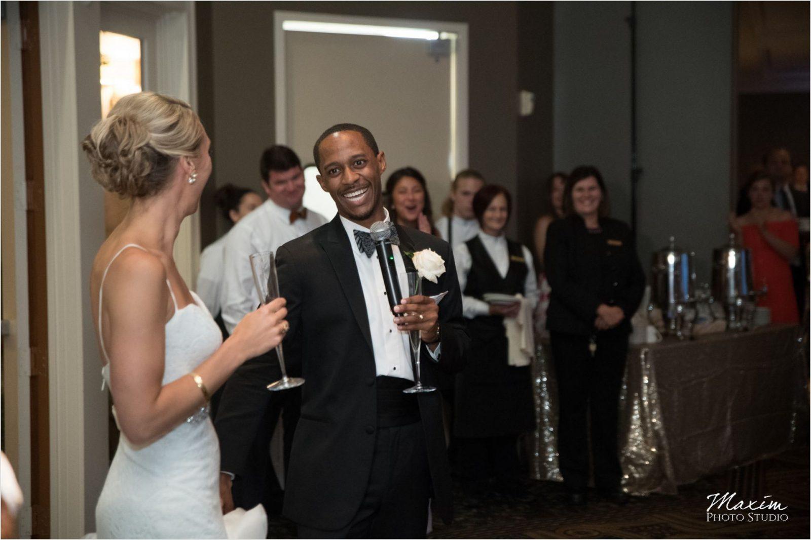 Cincinnati Wedding Photographers Drees Pavilion Wedding Recepiton toasts