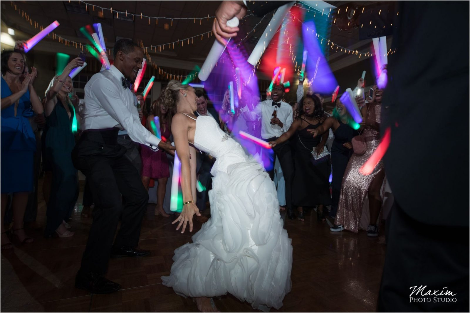 Cincinnati Wedding Photography Drees Pavilion Wedding Reception Glowsticks