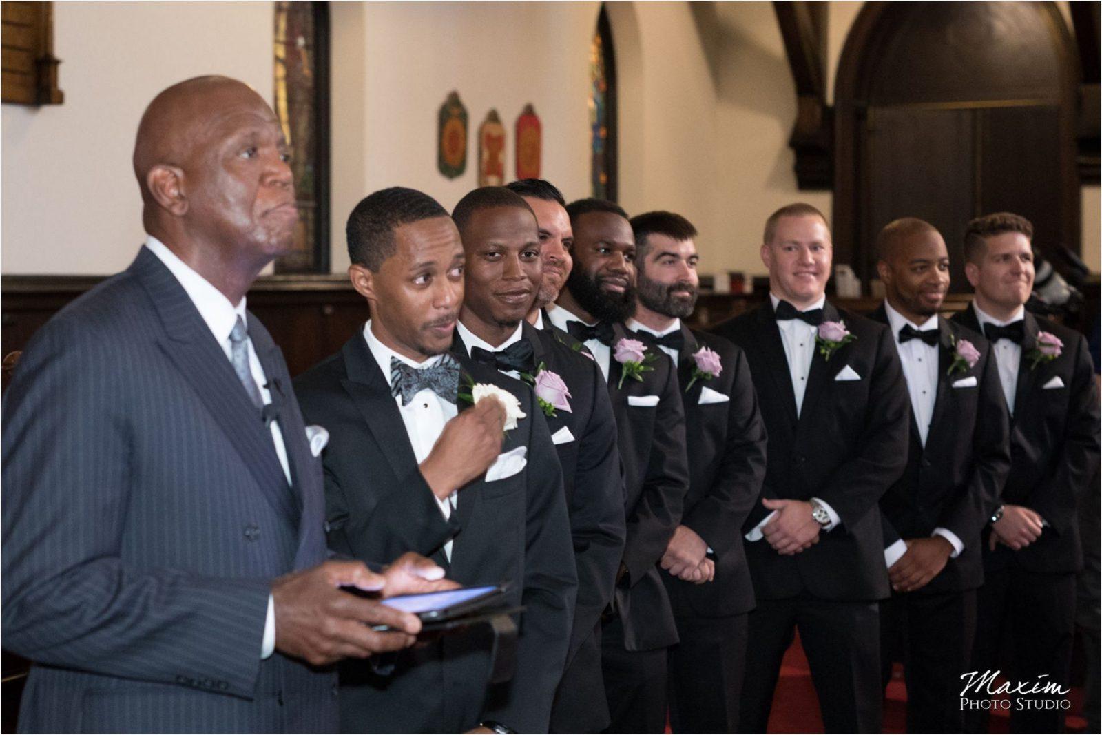 Covenant First Presbyterian Church Wedding Ceremony Groom crying
