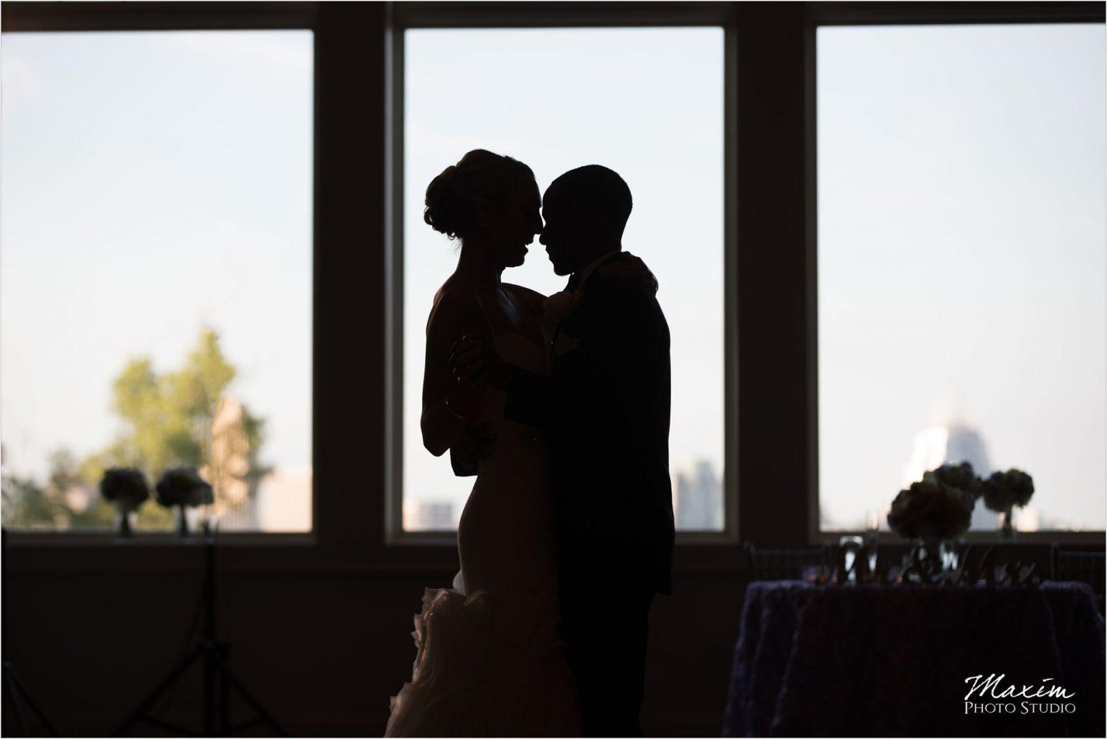 Cincinnati Wedding Photographers Drees Pavilion Wedding Reception silhouette dance