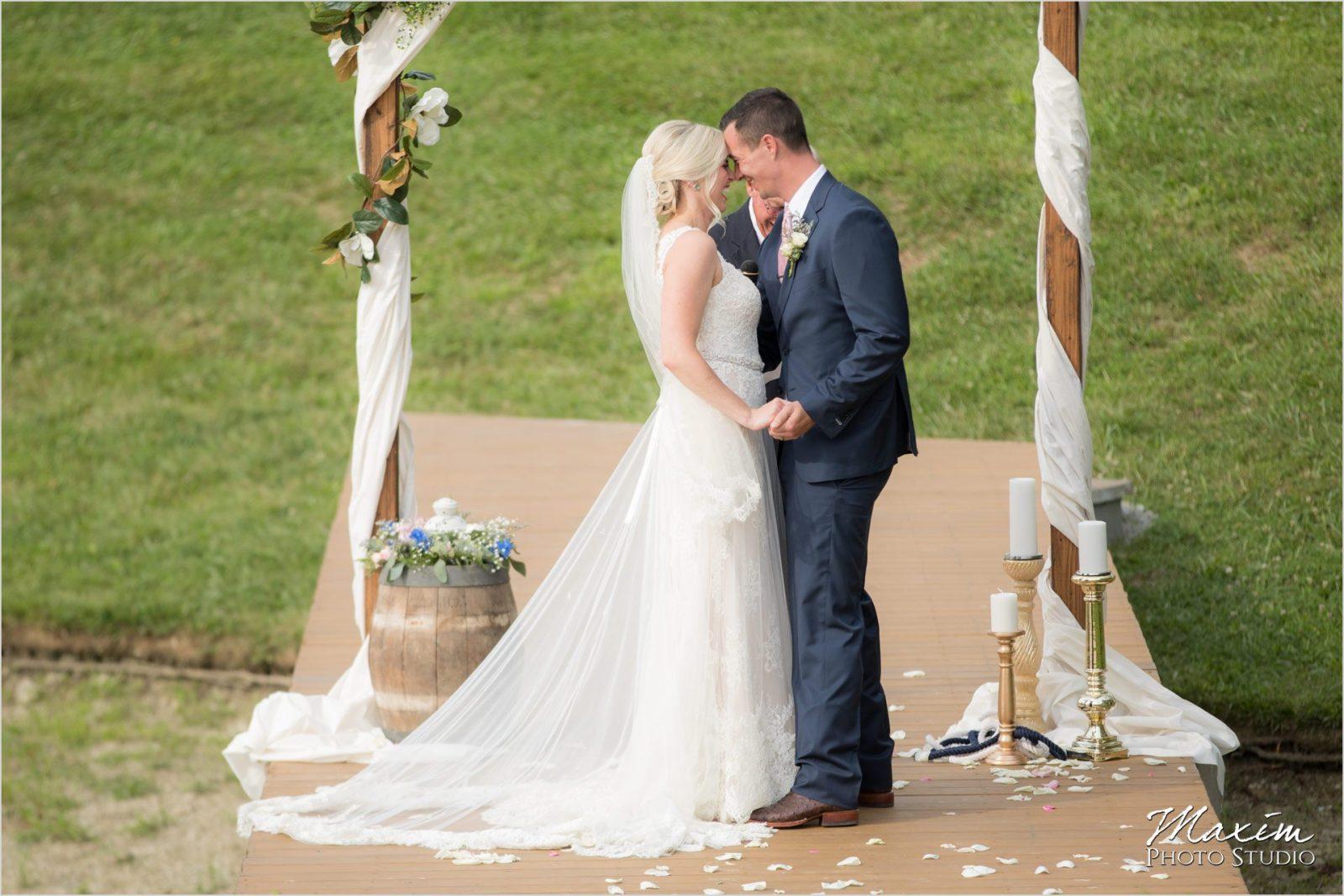 Ohio horse countryside wedding lake dock ceremony