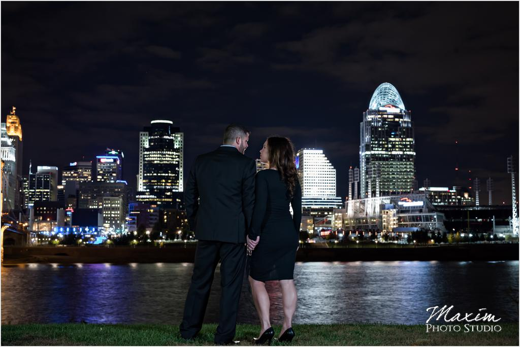 Cincinnati Skyline night engagement Anderson Pavilion