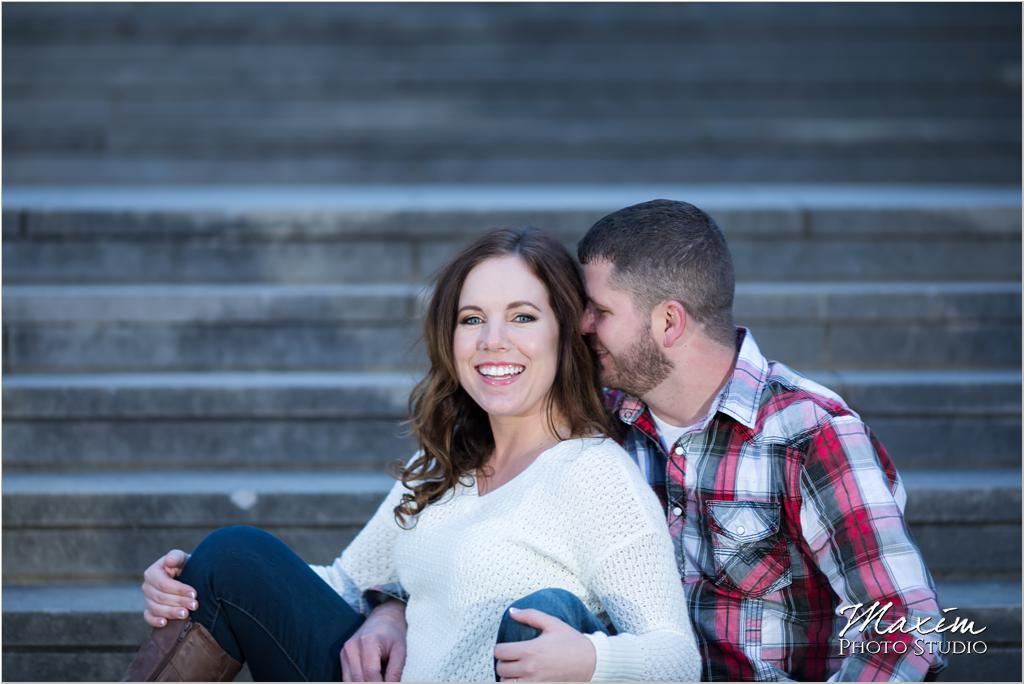 Ault Park Pavilion steps engagement photography