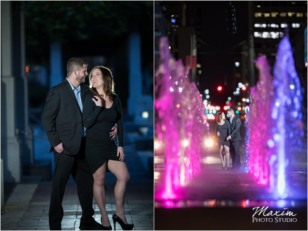 PG Gardens fountain night engagement off camera flash