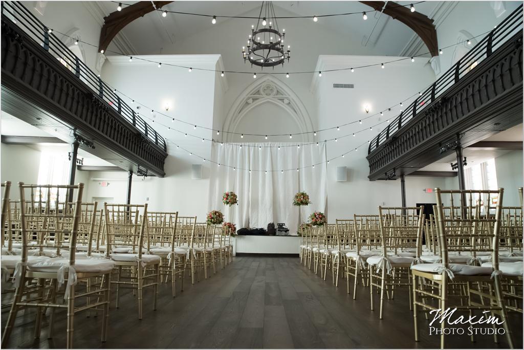 The Transept Cincinnati Wedding Ceremony Chiavari gold chairs