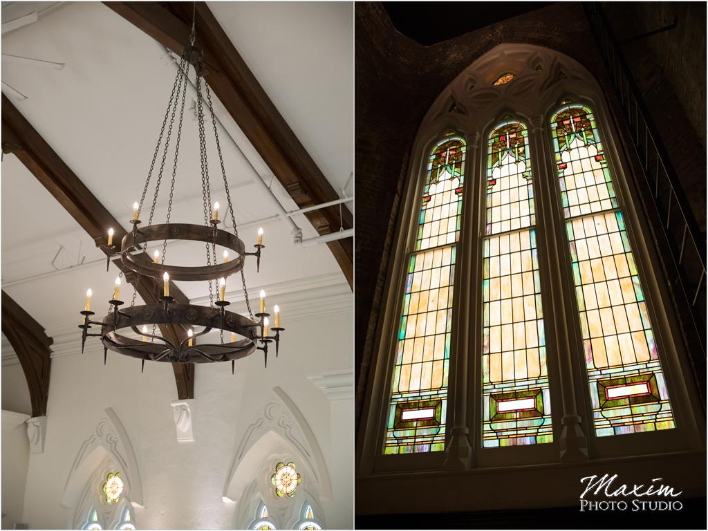 The Transept Cincinnati Wedding Ceremony Stain Glass windows