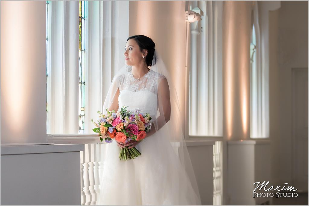 The Transept windows Cincinnati Wedding Bride Marti Heard Flowers