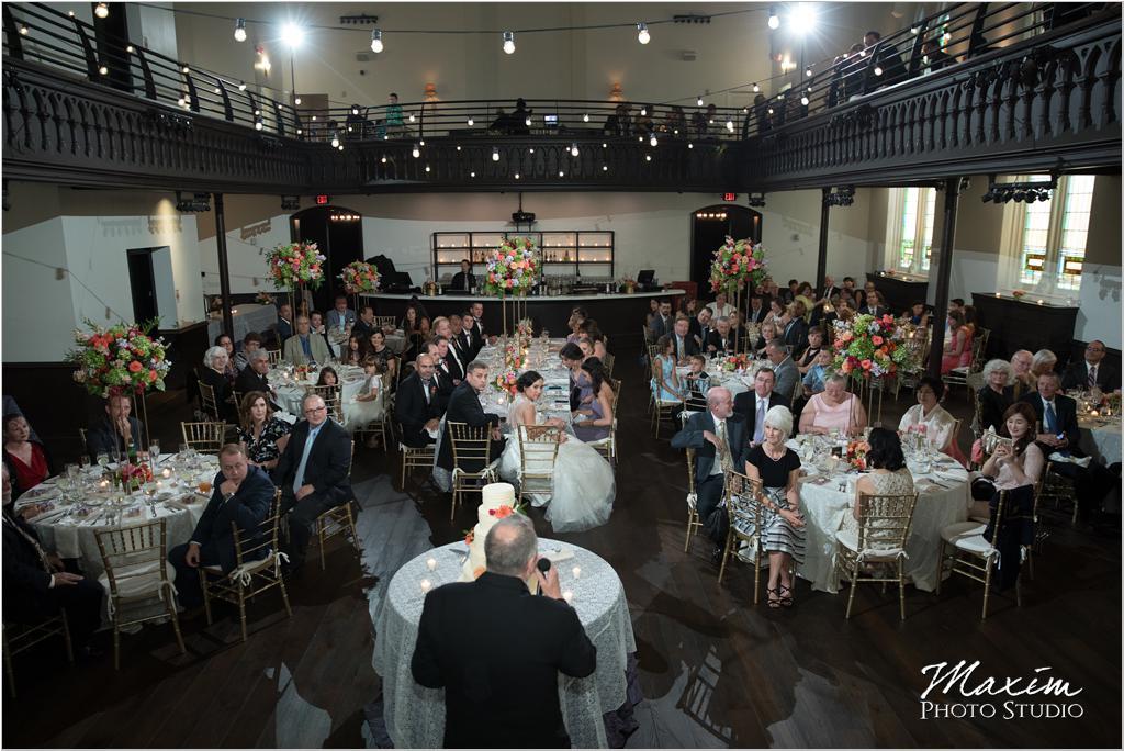 The Transept Cincinnati Wedding Reception toasts