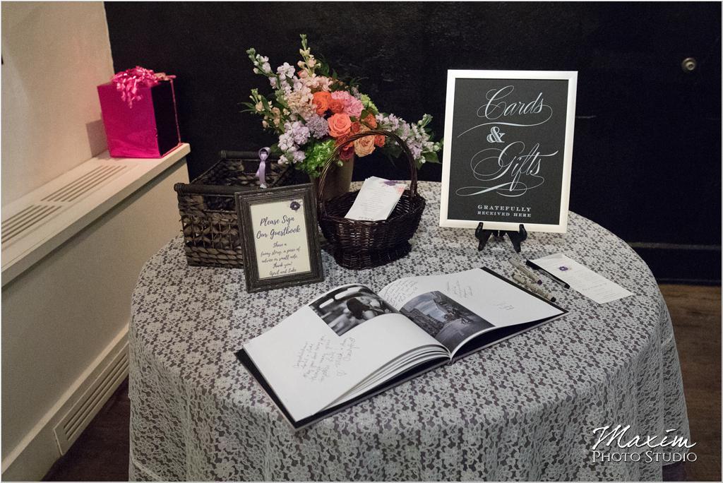The Transept Cincinnati Wedding Reception signature Book