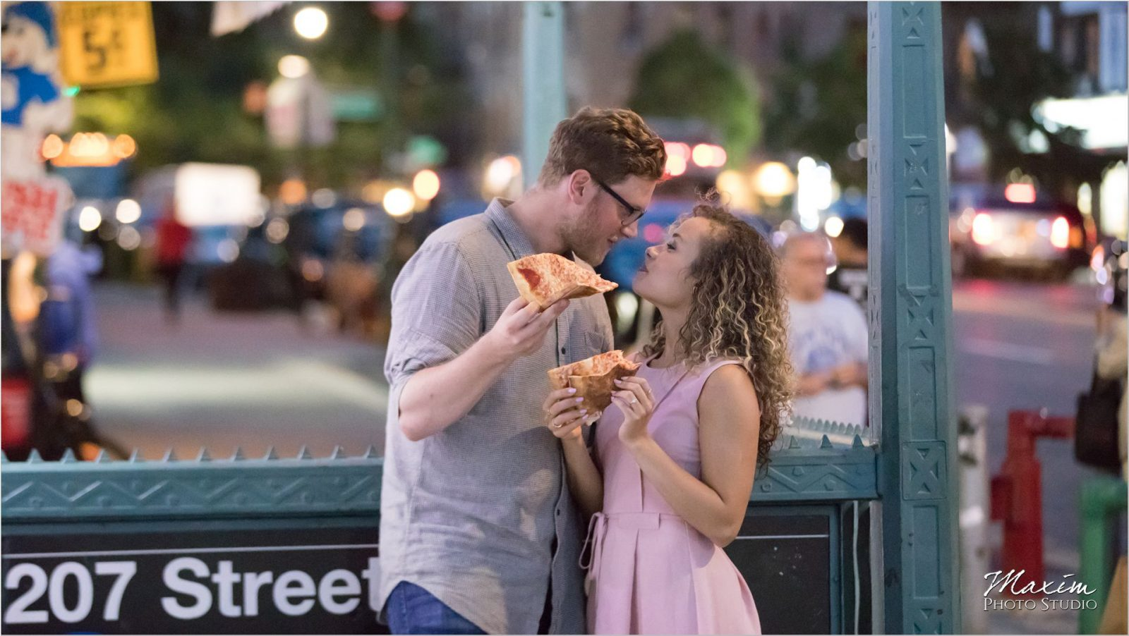 NYC park night engagement subway