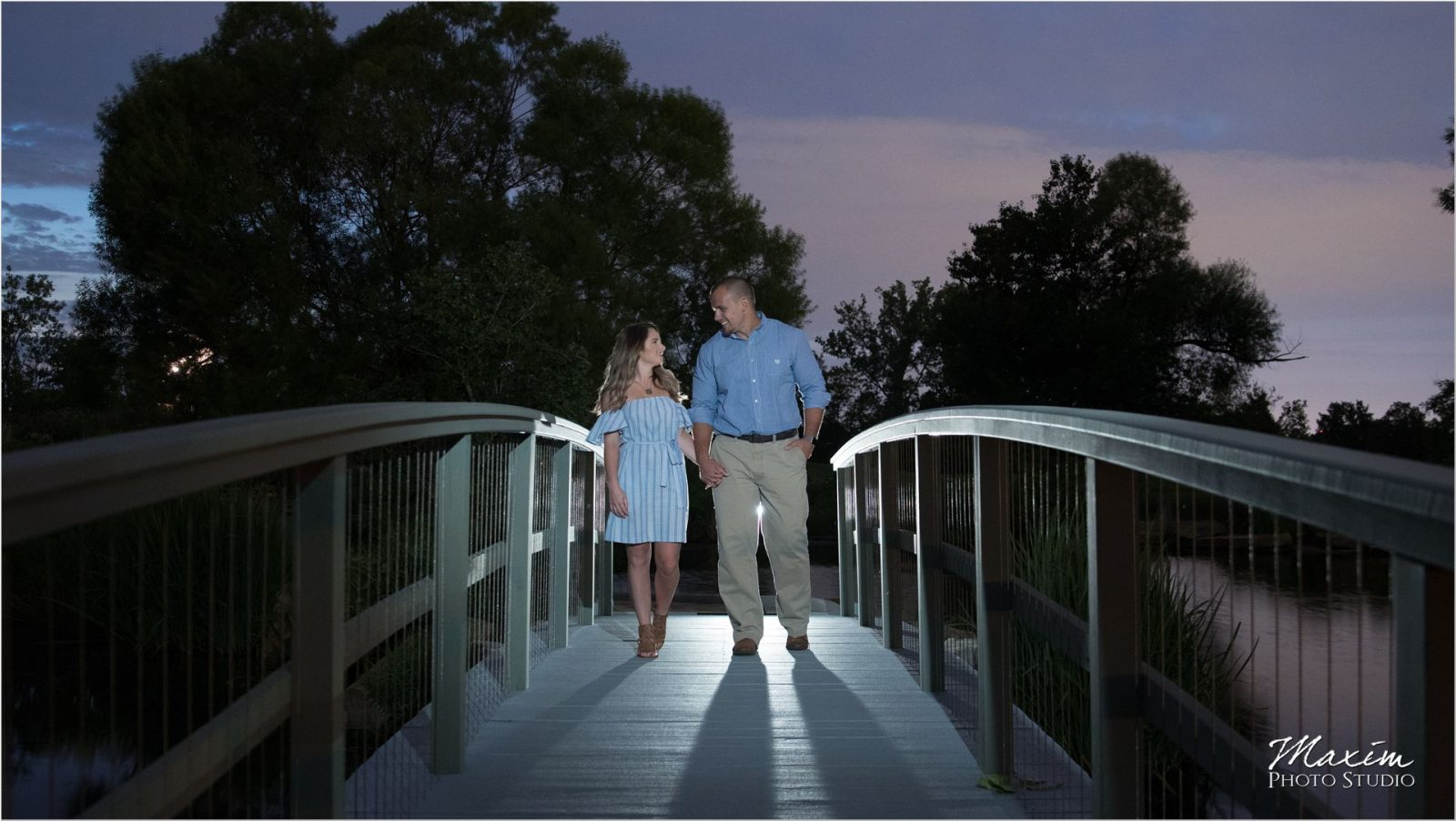 Cox Arboretum night engagement bridge