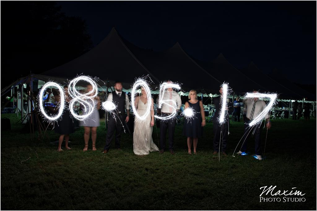 Ohio horse farm wedding tent reception bride groom sparkler sign