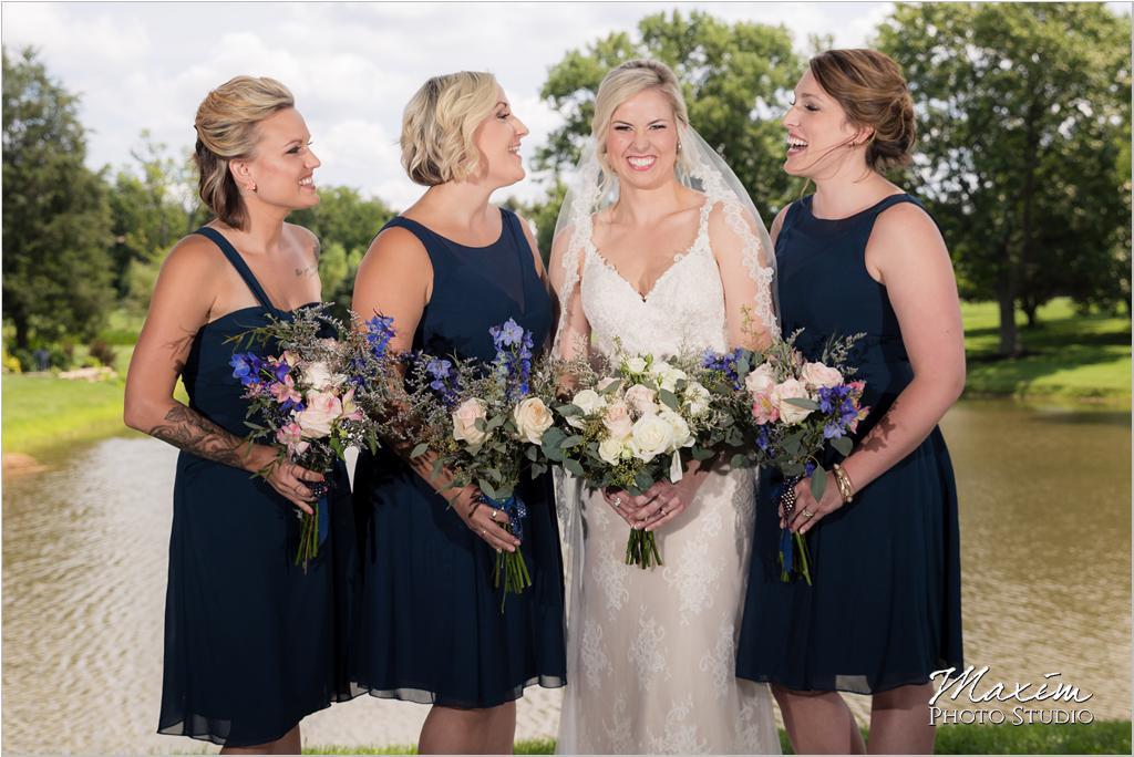 Ohio horse farm bride bridesmaids fun picture