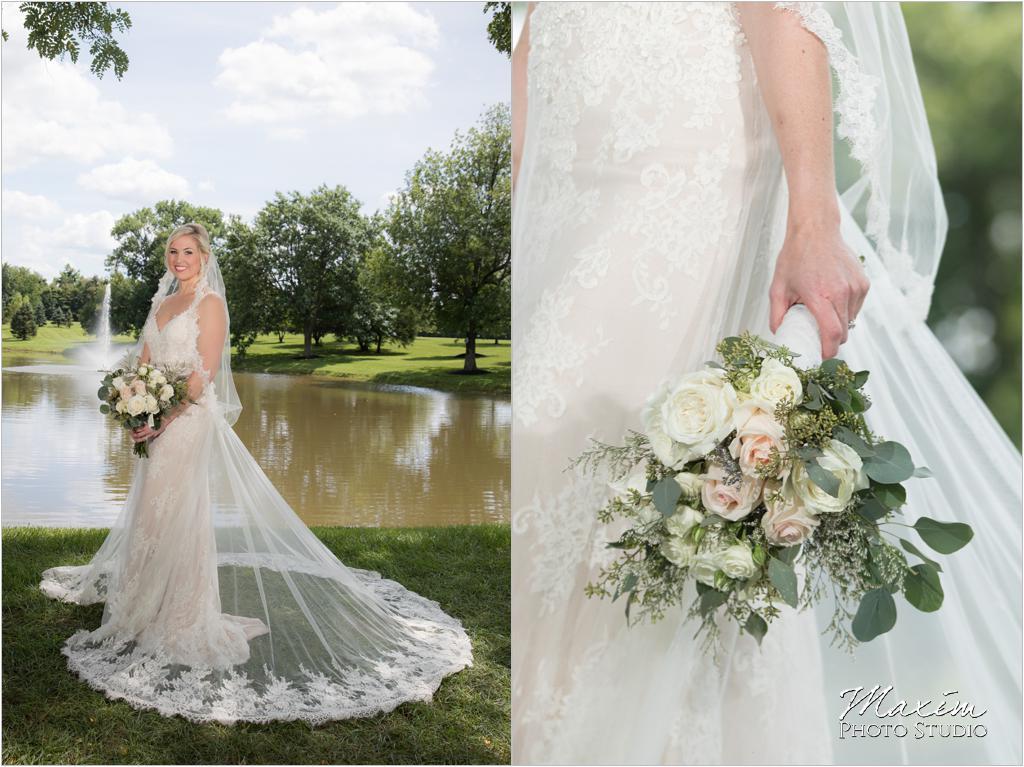 Ohio horse farm bride fountain flowers