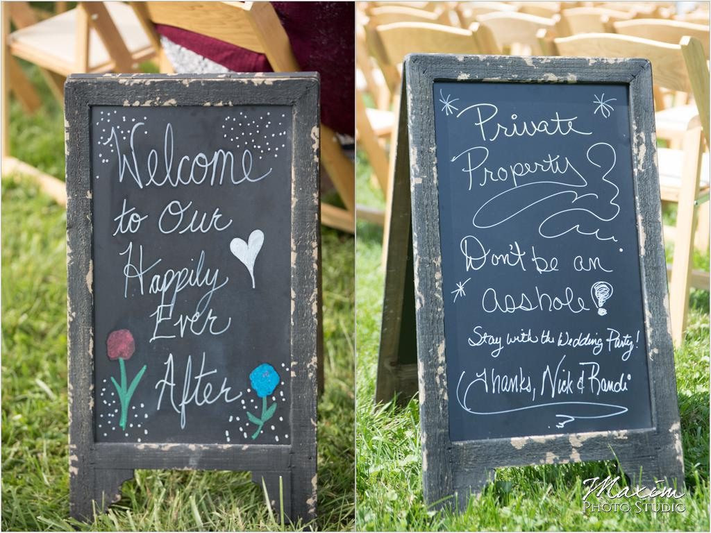 Ohio horse farm wedding ceremony signs
