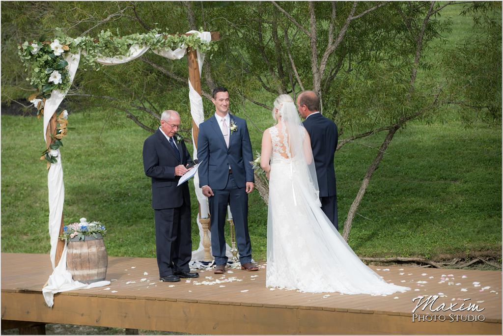 Ohio horse farm wedding ceremony bridge dock
