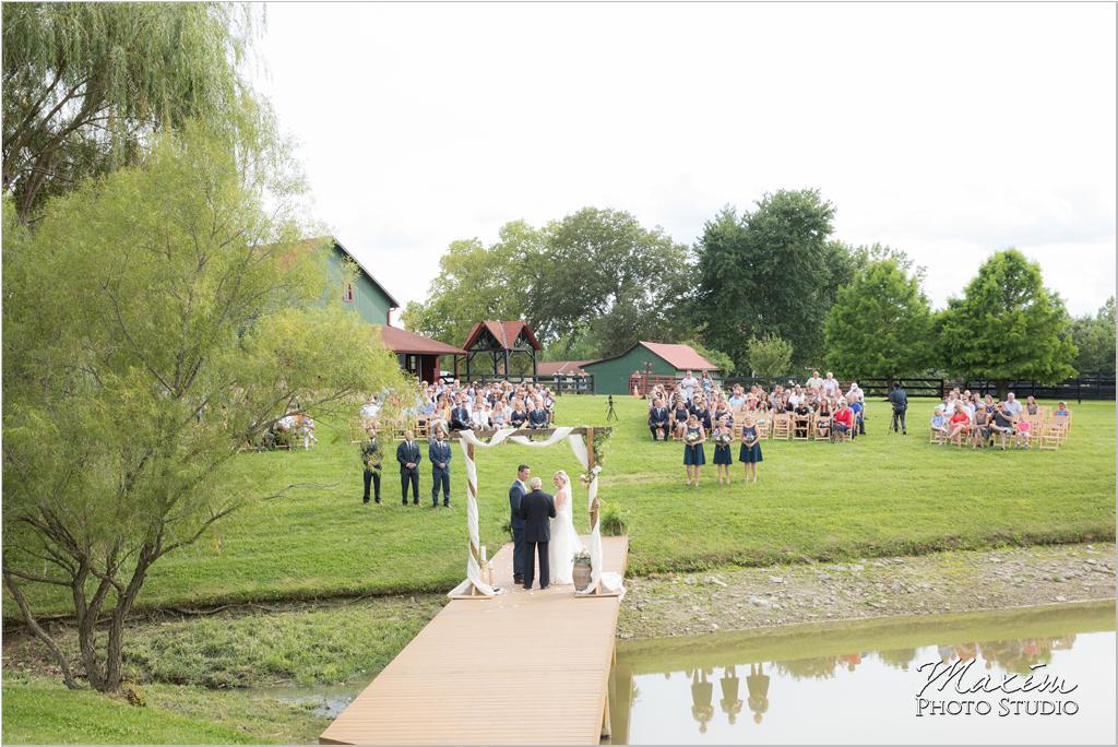 Ohio horse farm wedding ceremony water dock
