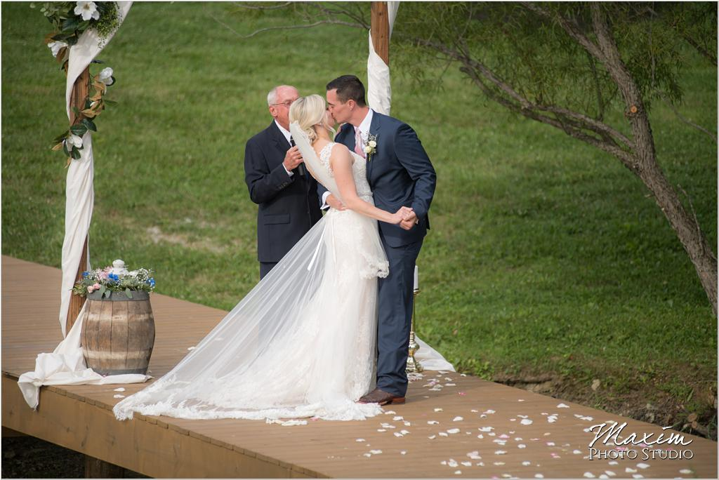 Ohio horse farm wedding ceremony water dock