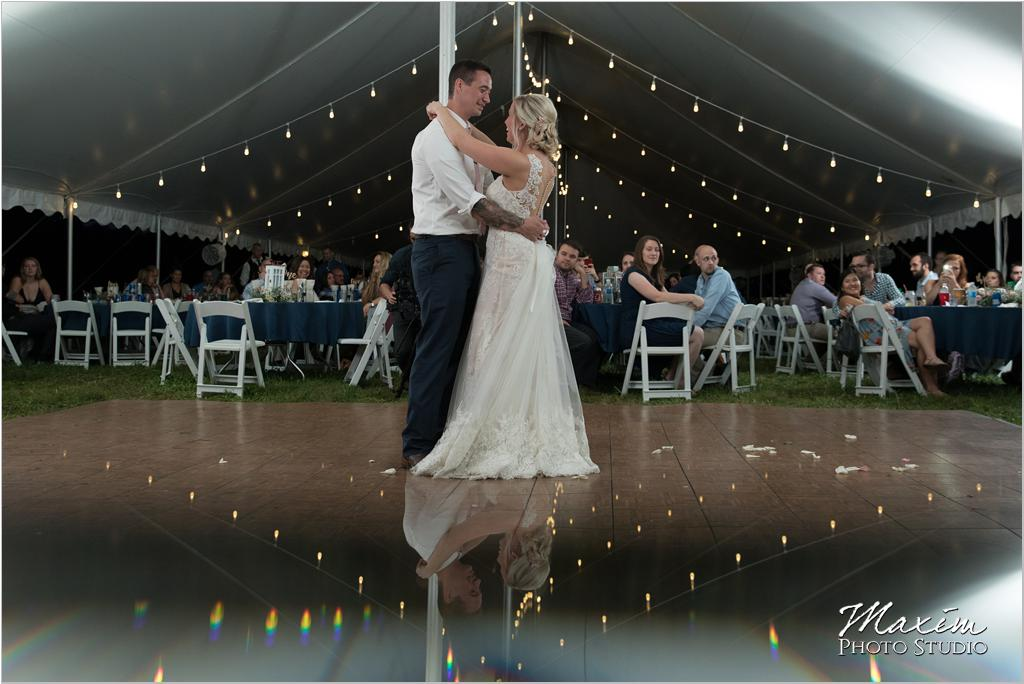 Ohio horse farm wedding tent reception first dance reflection