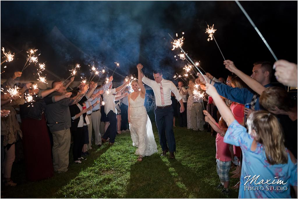 Ohio horse farm wedding tent reception bride groom sparkler exit