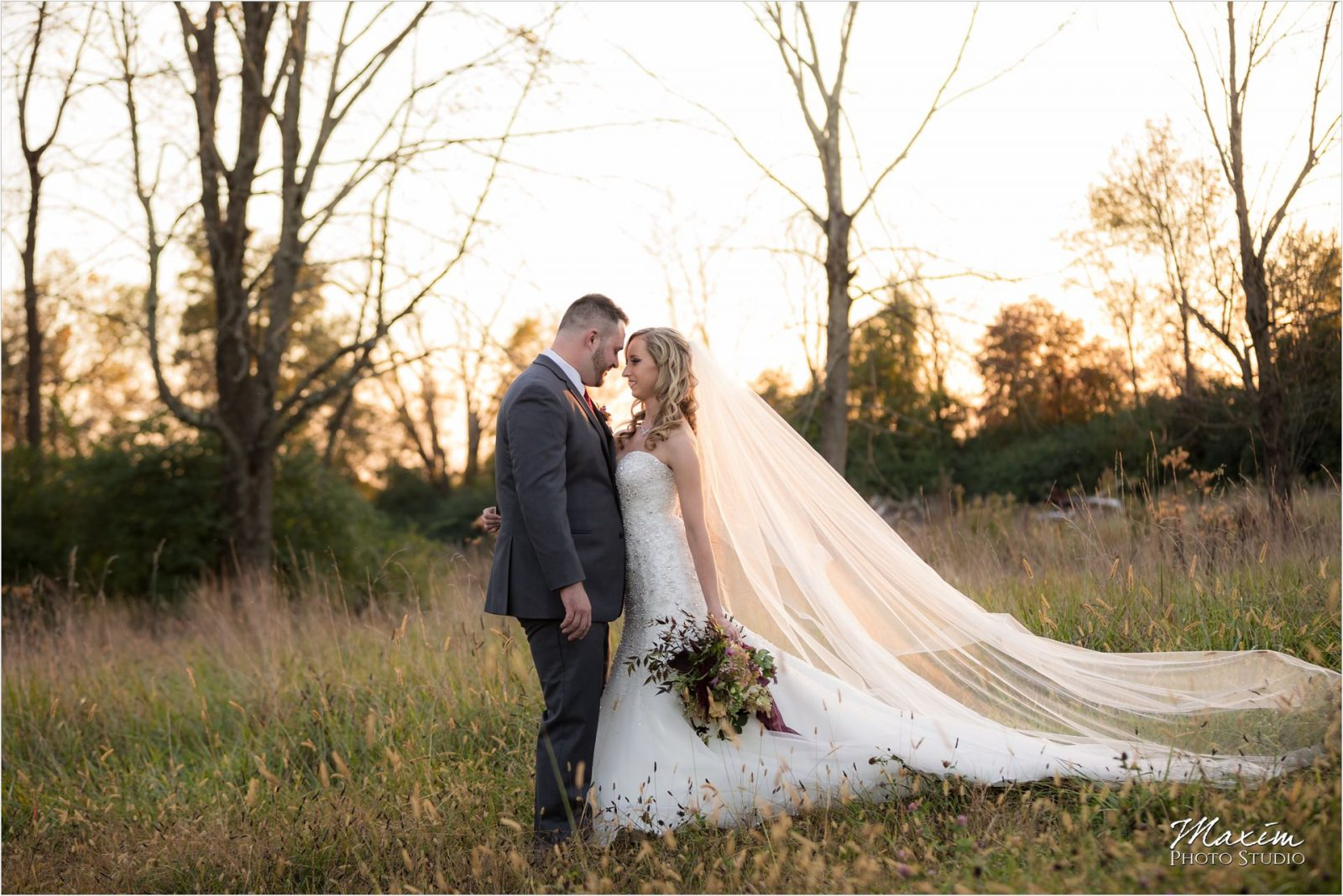 Rolling Meadows Ranch Wedding Bride groom open field sunset