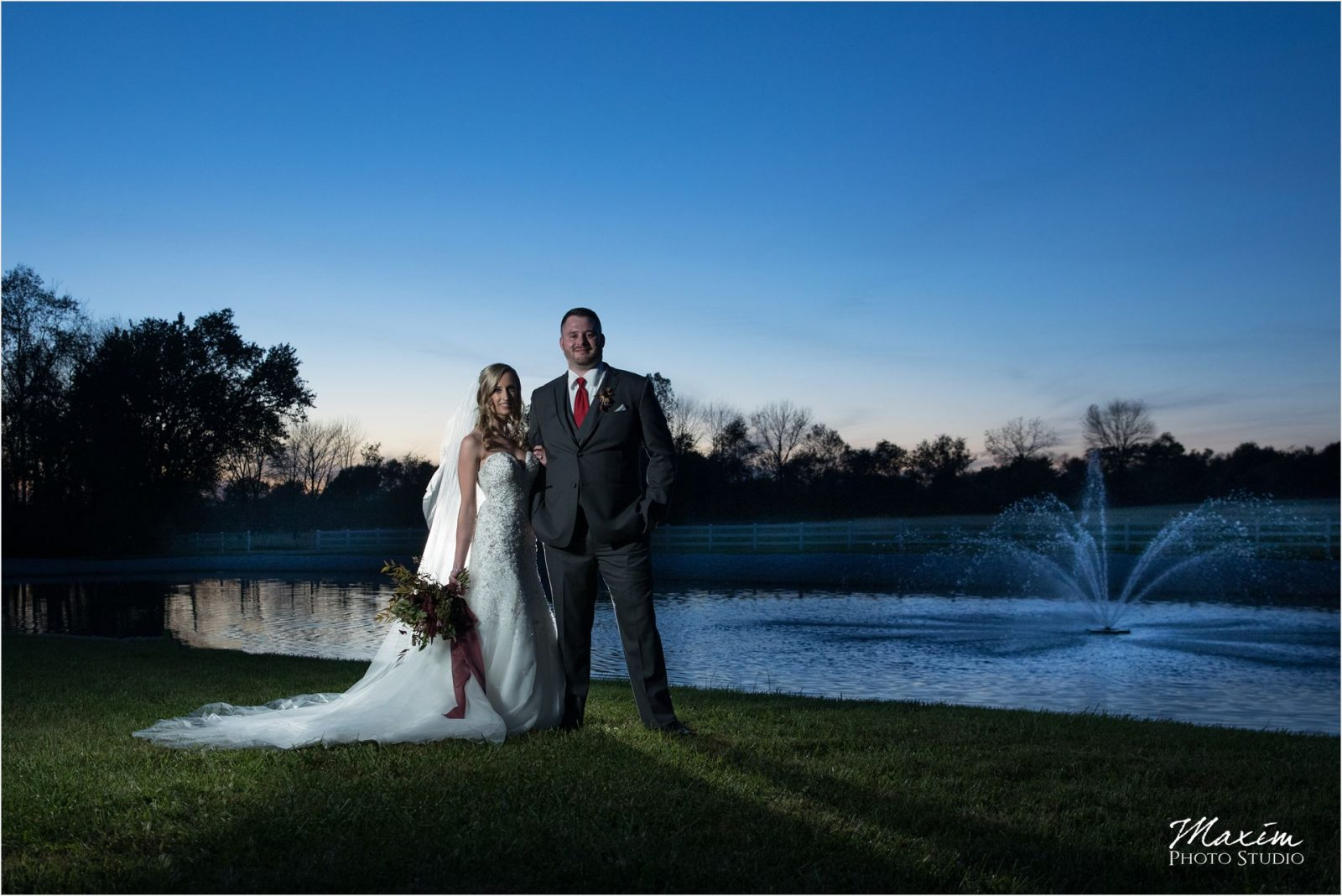 Rolling Meadows Ranch Wedding Bride groom lake fountain