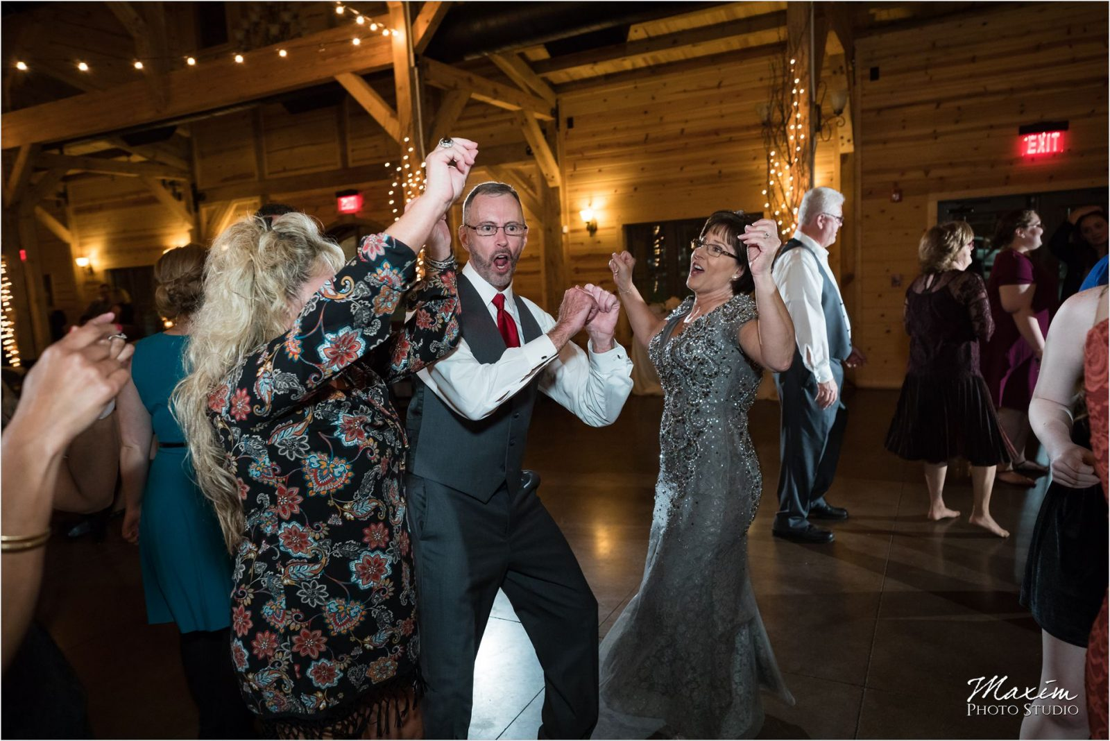 Rolling Meadows Ranch wedding reception guests dancing
