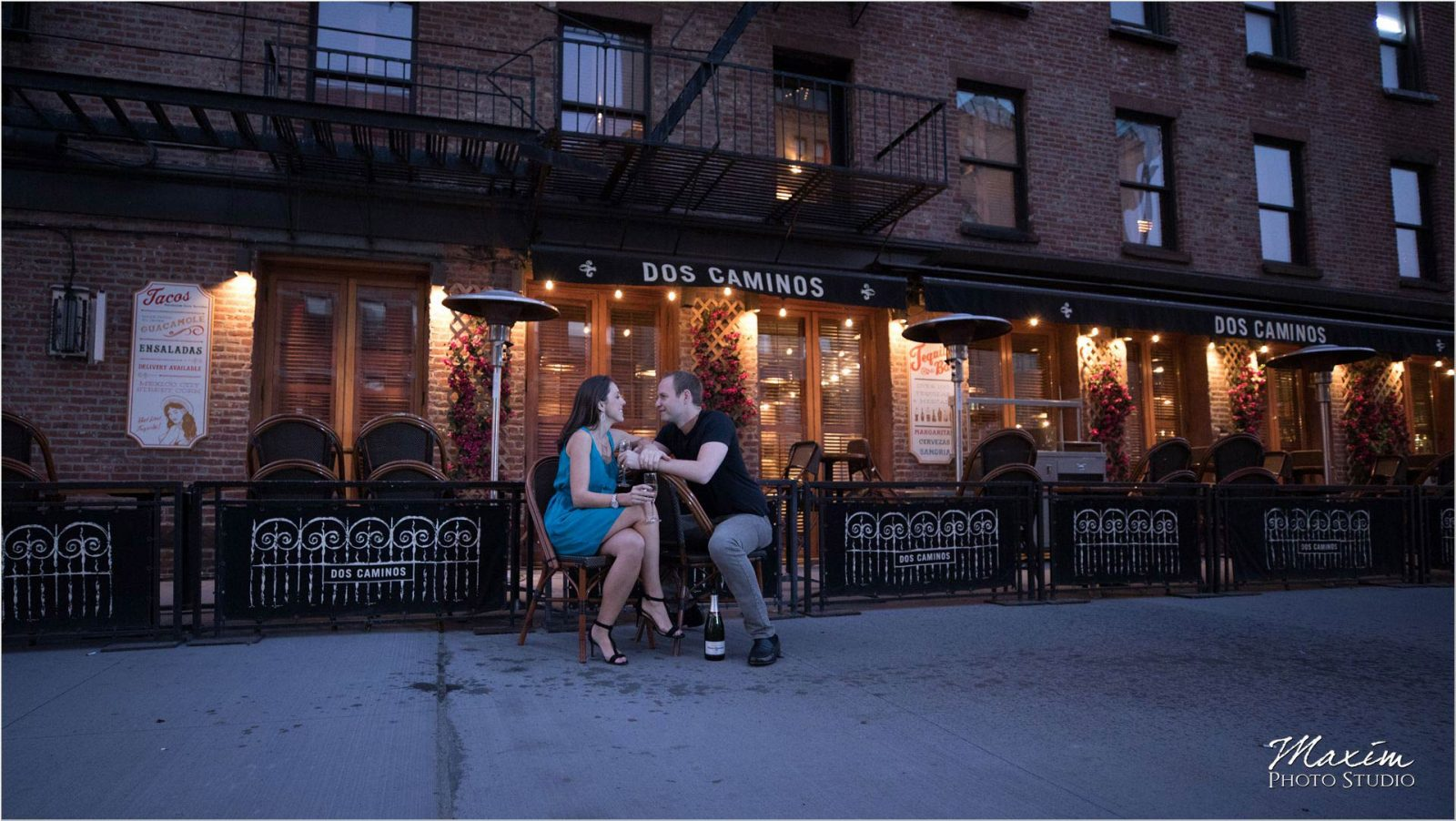New York City Meatpacking District Dos Caminos Engagement