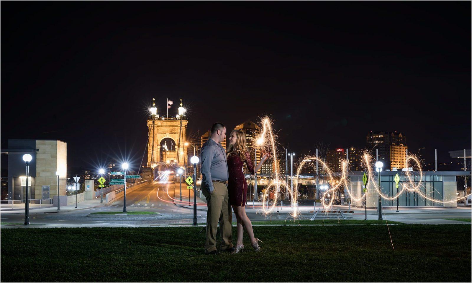 Smale Riverfront Park Cincinnati Engagement Sparklers